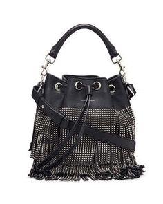 Small Stud Fringe Bucket Shoulder Bag, Black by Saint Laurent