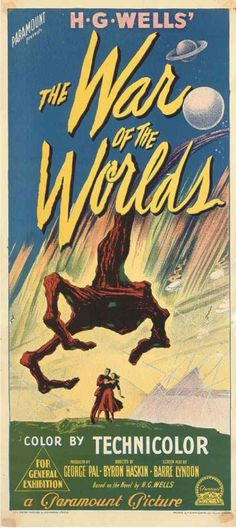 WAR OF THE WORLDS (1953) - Gene Barry - Produced by George Pal - Based on the novel by H. G. Wells - Directed by Byron Haskin - Paramount - Australian insert movie poster.