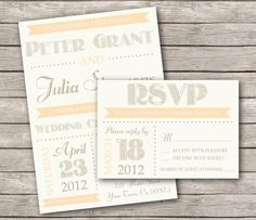 Modern Wedding Invitation Rustic Country Chic by Bejoyfulpaper, $32.00