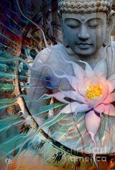 Modern Buddha artwork on canvas by artist Christopher Beikmann. Ethereal, Zen, Meditation, Buddhist and Nature Art. Meditation Musik, Buddhist Meditation, Buddhist Art, Buddhist Teachings, Meditation Art, Buddha Zen, Gautama Buddha, Buddha Lotus, Sacred Lotus