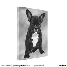 #Frenchbulldog Sitting #Watercolor Oil #Painting #Canvas Print #frenchie #dog #animal #pet #doggie #art