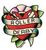 Mini Roller Derby Tattoo Heart Sticker motorbike roller derby punk rock decal