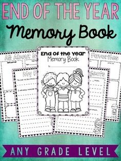 My students always love completing their end of the year memory book! They love looking back and reflecting on some of their experiences during the school year. These look great in color, but they also look good when printed in grayscale. You can print these as a full page or use the included directions to print as a booklet.