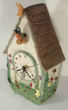 Spring Cuckoo Clock Bird house with blooming Spring Garden Textile art clock