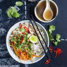 """Here's a recipe for one of Vietnam's most famous dishes - Vietnamese Chicken Noodle Soup Pho Ga. Pho, pronounced """"Fuh"""" - not 'Fo' - is light and fragrant. TRIED - This is really nice a soothing soup when you want something lite but tasty. Vietnamese Recipes, Asian Recipes, Healthy Recipes, Ethnic Recipes, Vietnamese Dong, Healthy Soups, Soup Recipes, Chicken Recipes, Cooking Recipes"""