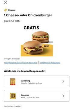 KOSTENLOS statt 1,49€ In der App von McDonald's gibt's einen Coupon für einen kostenlosen Cheeseburger oder Chickenburger. Ihr könnt den Coupon zum 20.06.2021 einlösen. Ist wahrscheinlich personalisiert. #Burger #essen #fastfood #gratis #mcdonalds #mcdonalds #mecces Cheeseburger, Fast Food, Christians, Mcdonalds, Coupon, App, Amazon, Amazons, Coupons