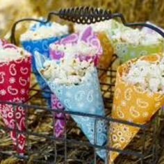 Festive paper cones ... fun way to house trail mix, popcorn, cheese curls ... #meals for a crowd #paper cones #snacks