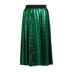 Muveil Metallic pleated skirt ($549) ❤ liked on Polyvore featuring skirts, green, green skirt, metallic midi skirt, calf length skirts, high waisted knee length skirt and metallic skirts