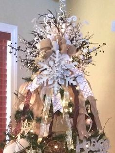 Thewreathabove Custom Christmas Tree Topper With Burlap Bow Snowflake From The Wreath Above Custom Tree Topper Christmas Decor Christmas Tree