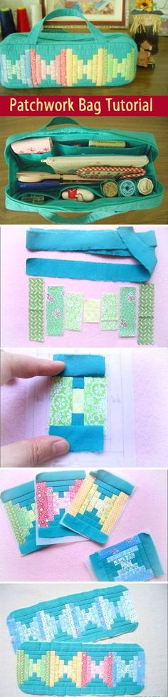 Sewing Projects For Beginners Patchwork Bag Tutorial. Bag for needlework. ~ Sewing projects for beginners. Step by step sew tutorial. How to sew illustration. Fabric Crafts, Sewing Crafts, Sewing Projects, Tape Crafts, Patchwork Bags, Quilted Bag, Quilting Tutorials, Sewing Tutorials, Bag Tutorials