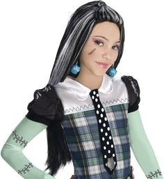 frankie stein girl's costume wig