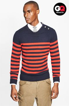 love the sweater. Michael Bastian Stripe Sweater #Nordstrom #GQSelects