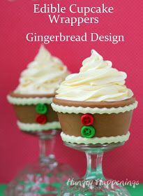 Hungry Happenings: Edible Christmas Cupcake Wrappers - Gingerbread Design