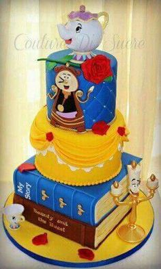 I like this cake but without the characters. Beauty & The Beast Cake! Fancy Cakes, Cute Cakes, Beautiful Cakes, Amazing Cakes, Beauty And The Beast Party, Beauty And The Beast Birthday Cake, Beauty Beast, Character Cakes, Novelty Cakes