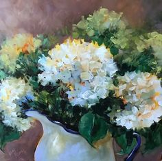 Dolcemente+Italian+White+Hydrangeas,+painting+by+artist+Nancy+Medina
