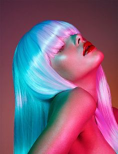 Neon ~ by Jamie Nelson ~ platinum hair with pink & bue lighting