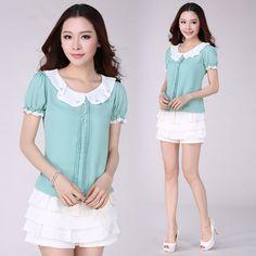 2015 nova verão mulheres blusa moda blusas de Chiffon de manga curta elegante solto Plus Size mulheres em Blusas de Roupas e Acessórios no AliExpress.com | Alibaba Group
