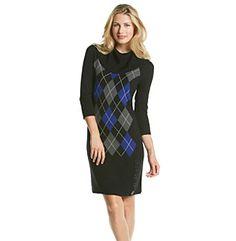 Studio One Argyle Cowlneck Sweater Dress