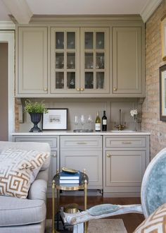 Transitional Living Room Boasts Neutral Built In Bar