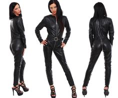 Genuine Leather Catsuit Lederoverall Long Zipper Dress Cat suit kinky 3 way zip | Clothing, Shoes & Accessories, Women's Clothing, Jumpsuits & Rompers | eBay!