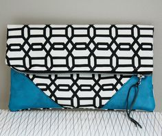 Folded Clutch in Black and White with Blue Leather. $40.00, via Etsy.