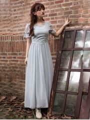 Summer Women's Fashion Expansion Bottom Embroidery Chiffon Short Sleeve Maxi Dress