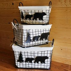 Metal Bear Baskets with Linen Liners for the nursery. Cabin Nursery, Plaid Nursery, Bear Nursery, Nursery Room, Nursery Ideas, Baby Boy Rooms, Baby Boy Nurseries, Baby Boys, Adventure Nursery
