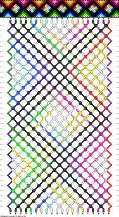 20 strings, 36 rows, 13 colors #56152 - friendship-bracelets.net