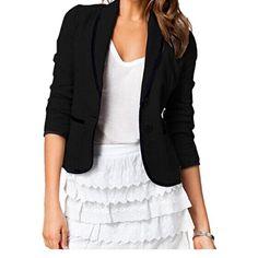 Lingswallow Womens Blazer Coat Slim Short Suit Lapel Jacket Outerwear Black *** Visit the image link more details.