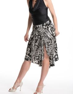 Tango skirt with front slit black and white by TheGiftofDance