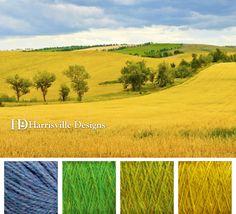 Wheat field color palette using Harrisville Designs yarn: Cornflower, Kiwi, Grass, and Goldenrod.