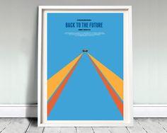 """Back to the future - delorean - A3 (12x16"""") movie, film poster, minimal, 88 mph, time machine, delorean, clock tower, bttf trilogy"""