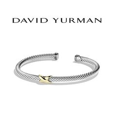 David Yurman X 4mm Cable Bracelet NWOT Sterling silver and 18-karat yellow gold Cable, 4mm wide. Never worn. Comes with a white David Yurman Pouch David Yurman Jewelry Bracelets