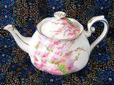 Royal Albert Blossom Time Teapot 1950s Pink Tree Blossoms Large English Bone China