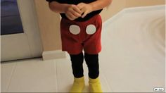 DIY Mickey Mouse Costume! Yellow socks over shoes!