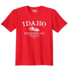 Idaho State - Trademark Printed T-Shirt - Red. 5.3 oz. 100% cotton preshrunk jersey knit. Taped neck and shoulders. Double needle sleeve and bottom hems. Seamless double needle 7/8 collar.