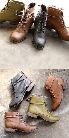 Almond Toe Lace Up Booties