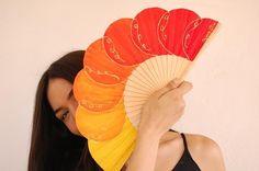 Orange Bubble Hand Fan by Paloma Sia Designs Painted Fan, Hand Painted, Hand Held Fan, Hand Fans, Your Biggest Fan, Antique Fans, Green Bubble, Fan Decoration, Watercolors