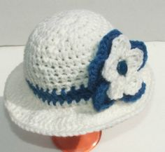 White and Blue  Sun hat with RufflesWhite Sun HatBaby by GssBeauty, $14.00
