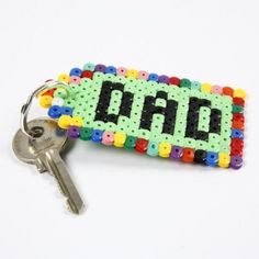 Schlüsselanhänger aus Bügelperlen Keychain made of iron beads. Perler Bead Designs, Hama Beads Design, Diy Perler Beads, Hama Beads Patterns, Perler Bead Art, Peyote Patterns, Diy Gifts For Dad, Kids Gifts, Diy Birthday Gifts For Dad