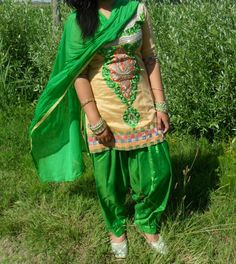 Perfect green patialia suit