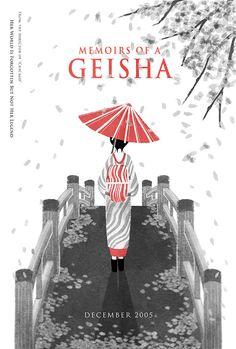 School assignment: Movie poster designs for Memoirs of a Geisha. Geisha Book, Geisha Art, Memoirs Of A Geisha, Batik Art, Umbrella Art, Japan Art, Illustrations And Posters, Poster On, Book Design