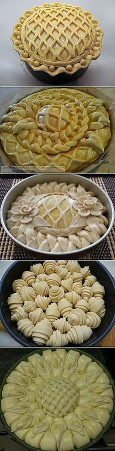 Pastry art-Photo pinned only - link doesn't take you anywhere - but how beautiful! Pie Recipes, Dessert Recipes, Cooking Recipes, Pie Crust Designs, Bread Art, Bread Shaping, Good Food, Yummy Food, Bread And Pastries