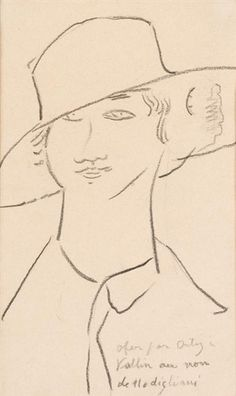 Artwork by Amedeo Modigliani, Young Woman in a Broad Hat, Made of Crayon on paper