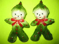 Vintage Holly / Poinsetta SALT & PEPPER Shakers Kreiss Christmas People Figurine | eBay
