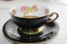 Rare Vintage Winterling-Bavaria Black and Gold by TouchofClassic Gold Cup, Bavaria, Cup And Saucer, Vintage Items, Tea Cups, Hand Painted, Unique Jewelry, Tableware, Handmade Gifts
