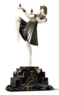 D.H. CHIPARUS, Nubian Dancer, c. 1925. Bronze, Ivory and marble (hva)