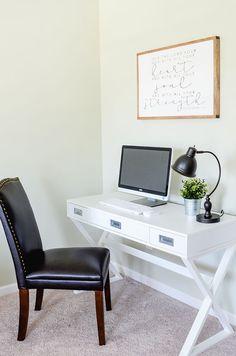 Crossmark Campaign Desk in White. Via Simply Kierste Campaign Desk, Black Headboard, Home Office Decor, Office Ideas, Home Decor, Simple Closet, Bedroom Desk, Master Bedroom, White Laminate