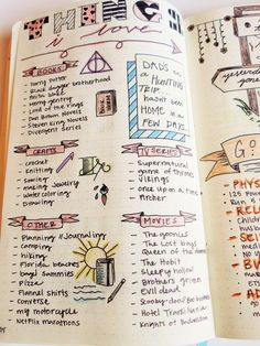 things I love bullet journaling page