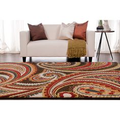 Meticulously Woven Contemporary Brown/Red Floral Paisley Floral Fordbridge Rug (5'3X7'6)   Overstock.com Shopping - The Best Deals on 5x8 - 6x9 Rugs